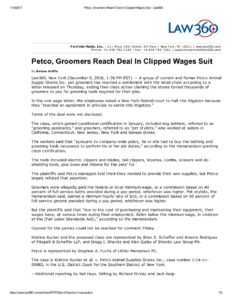 Petco, Groomers Reach Deal In Clipped Wages Suit - Law360